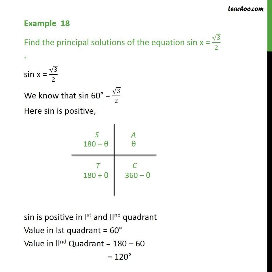 Example 18 - sin x = root 3, find principal solution - Chapter 3 - Examples