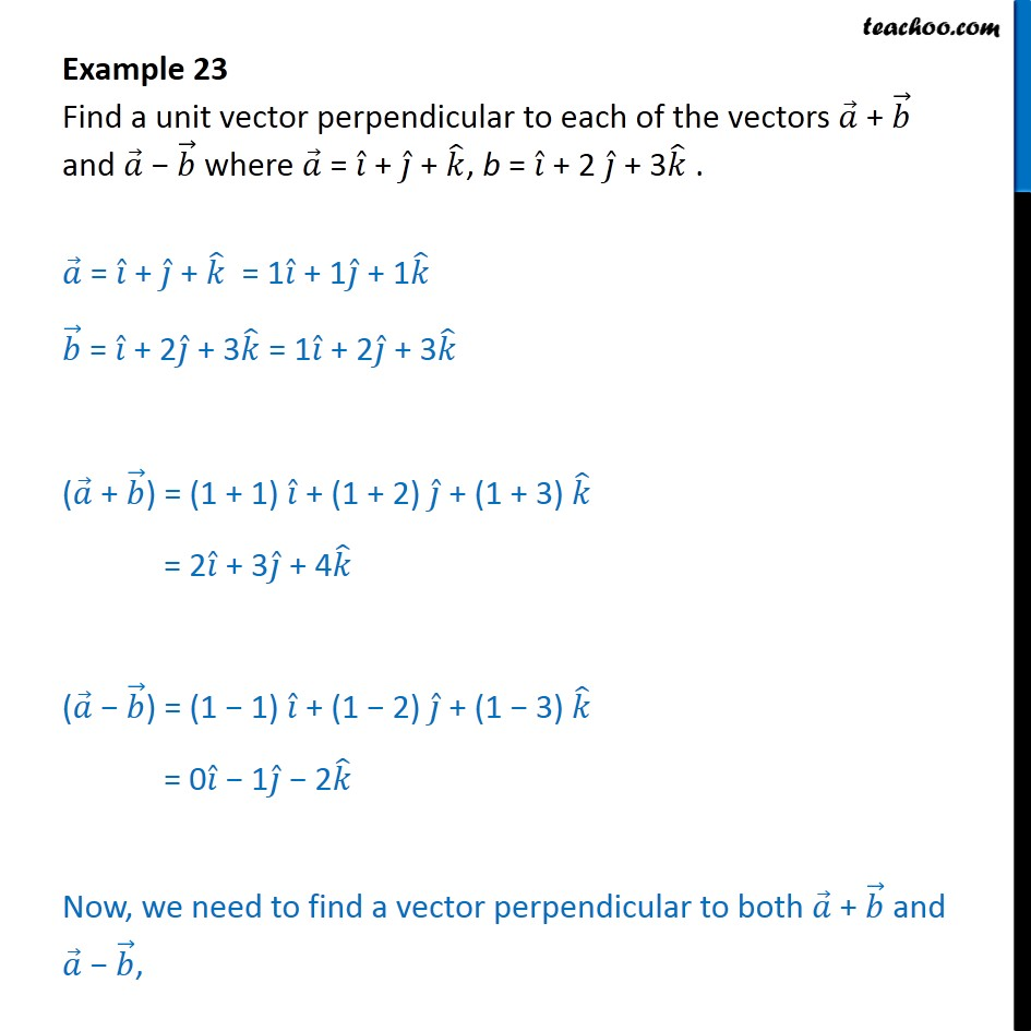 Example 23 - Find a unit vector perpendicular to a + b, a - b - Vector product - Defination