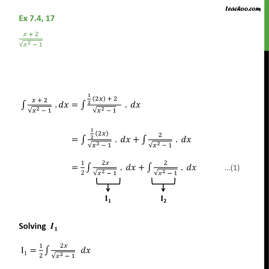 Ex 7.4, 17 - Integrate x + 2 / root x2 - 1 - Chapter 7 - Ex 7.4
