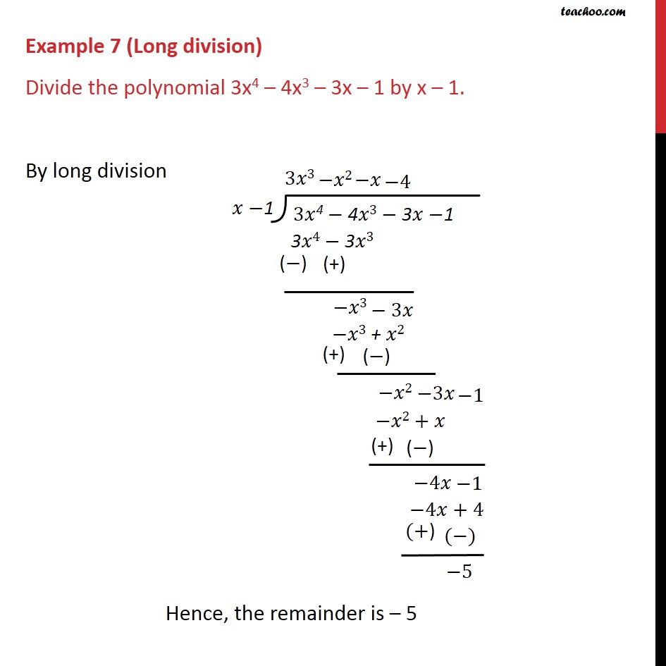 Example 7 - Divide the polynomial 3x4 - 4x3 - 3x - 1 by x - 1 - Remainder Theoram