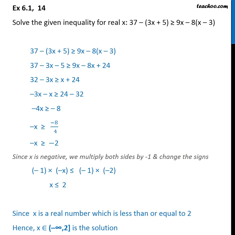 Ex 6.1, 14 - Solve: 37 - (3x + 5) >= 9x - 8(x - 3) - Solving inequality  (one side)