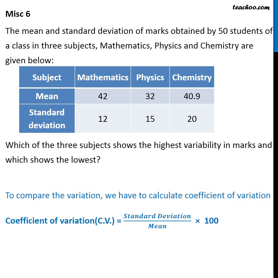 Misc 6 - Mean, standard deviation of marks obtained by 50 - Co-efficient of variation