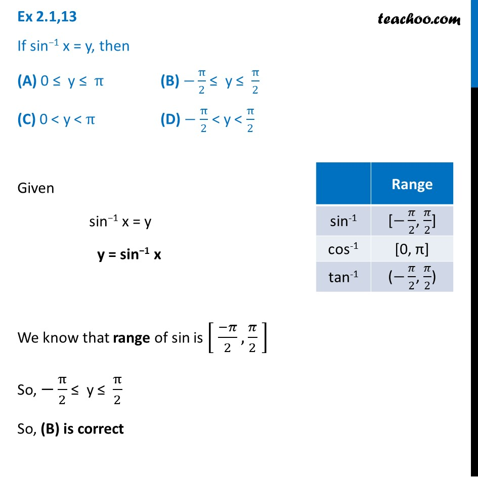 Ex 2.1, 13 - If sin-1x=y, then - Chapter 2 Class 12 Inverse