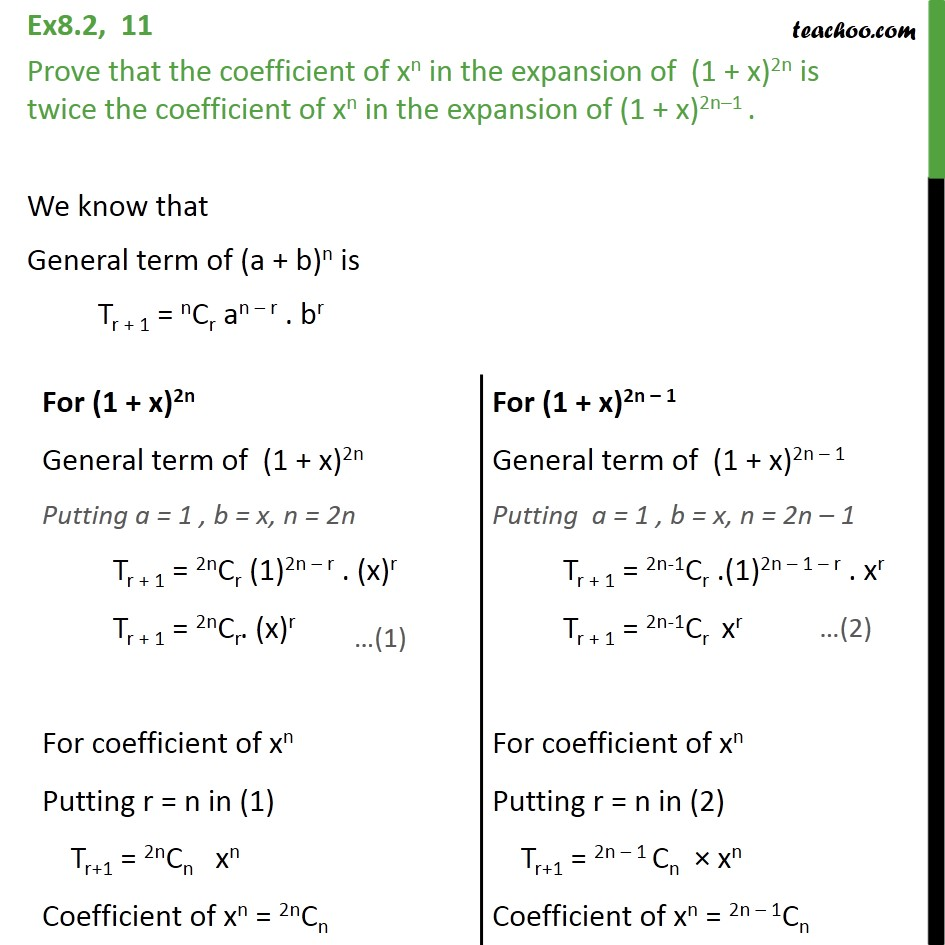 Ex 8.2, 11 - Prove that coefficient of xn in (1 + x)2n - Coefficient