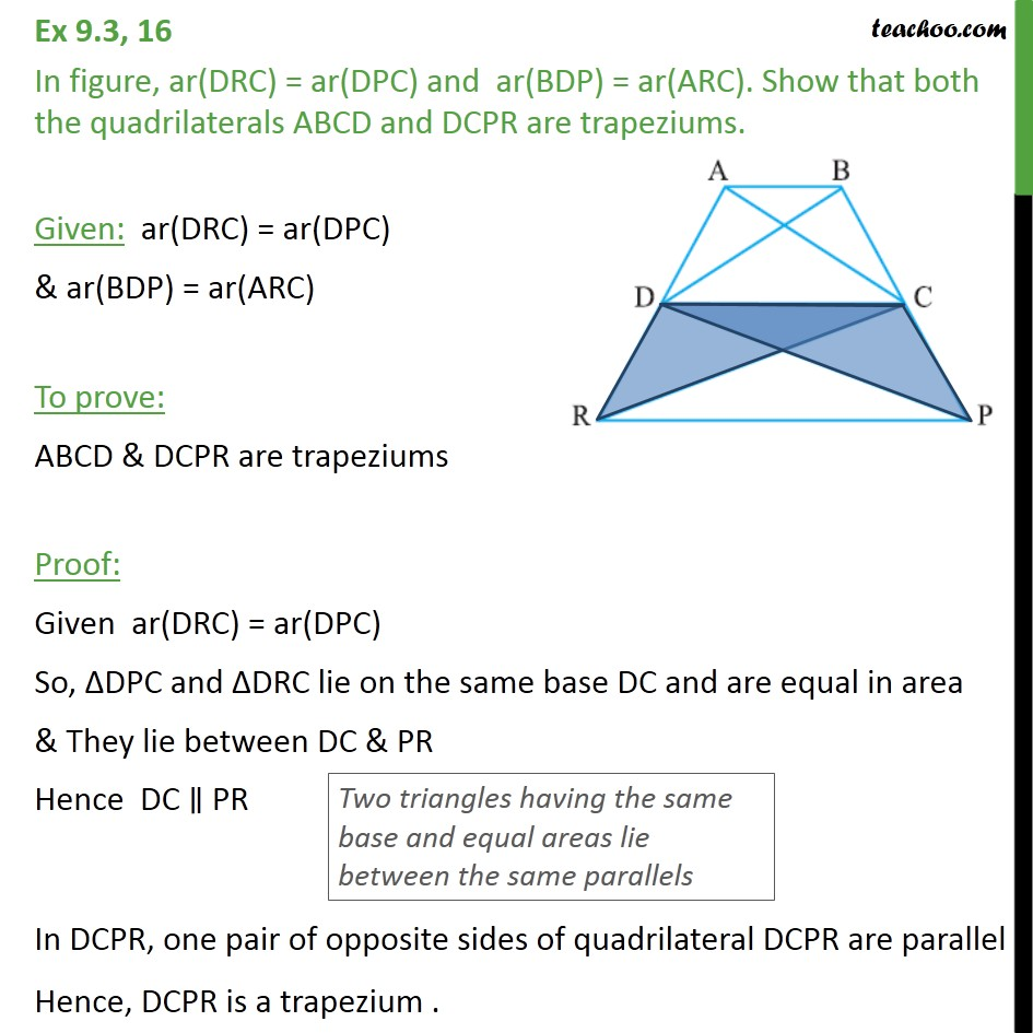 Ex 9.3, 16 - In figure, ar(DRC) = ar(DPC) and ar(BDP) - Ex 9.3