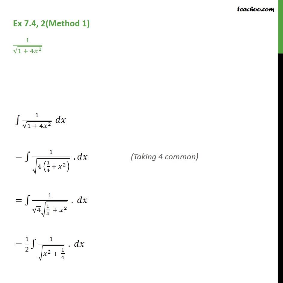 Ex 7.4, 2 - Integrate 1 / root 1 + 4x2 - Class 12 NCERT - Ex 7.4