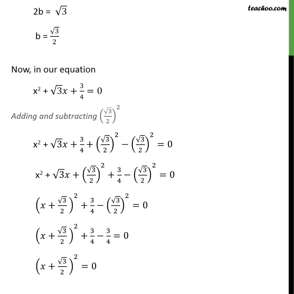 Ex 4.3, 1 (iii) - Chapter 4 Class 10 Quadratic Equations - Part 2