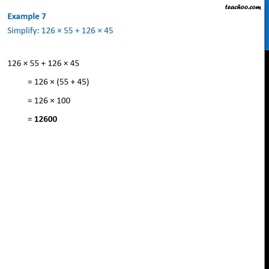 Example 7 - Simplify: 126 x 55 + 126 x 45 - Chapter 2 Class 6