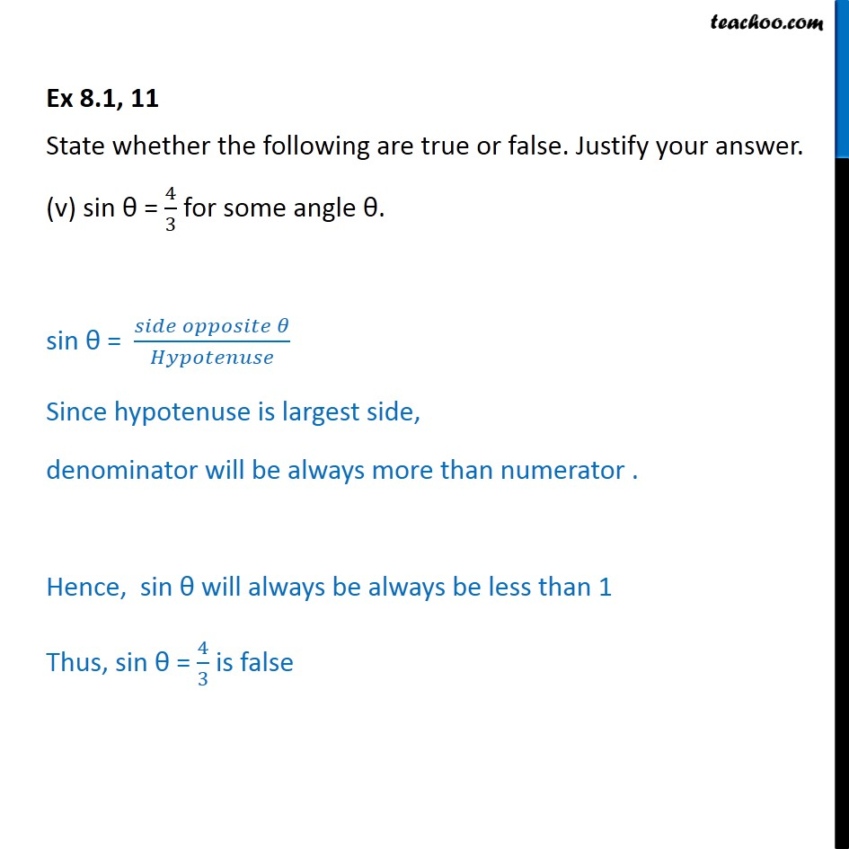 Ex 8.1, 11 - Chapter 8 Class 10 Introduction to Trignometry - Part 6