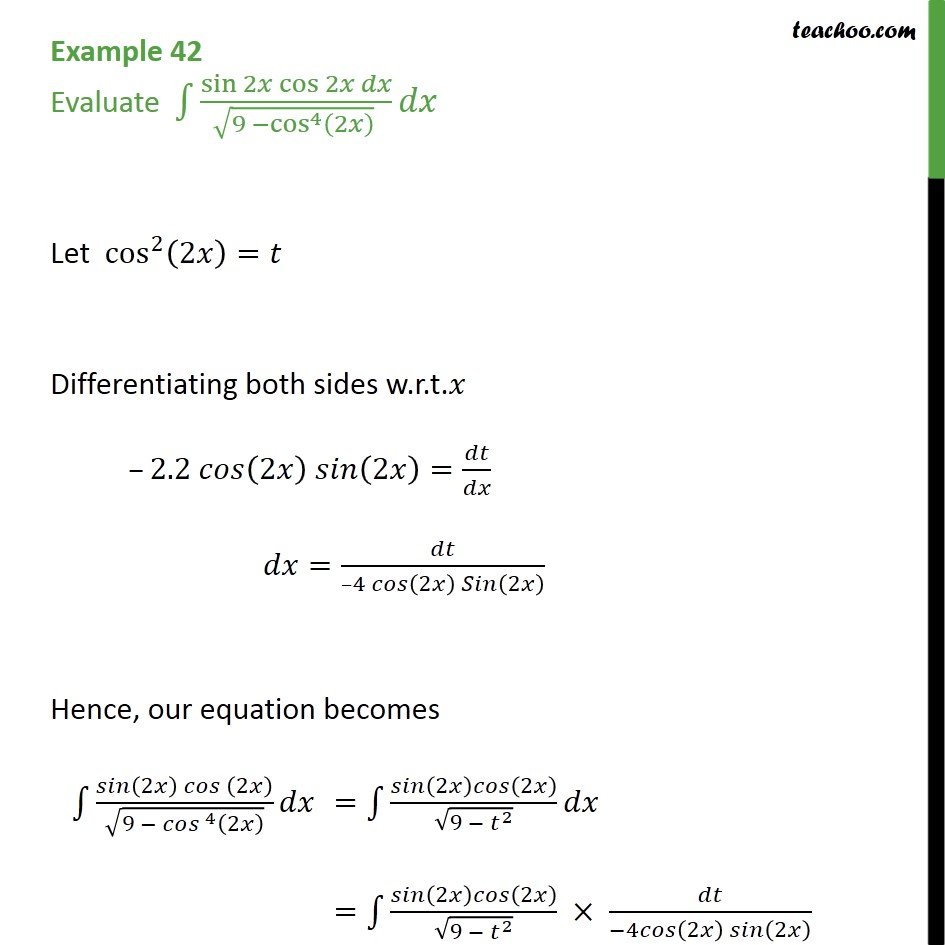 Example 42 - Integral sin 2x cos 2x / root (9 - cos4 2x) - Examples