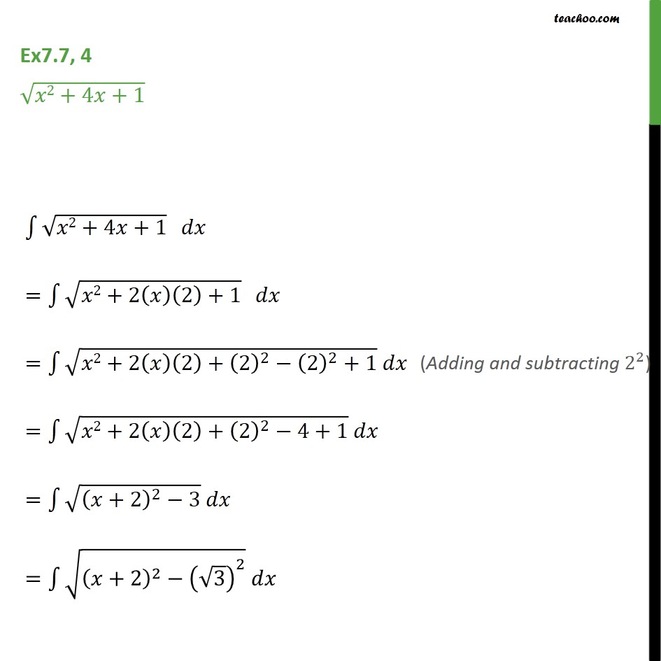 Ex 7.7, 4 - Integrate root x2 + 4x + 1 - Chapter 7 NCERT - Integration by specific formulaes - Formula 7