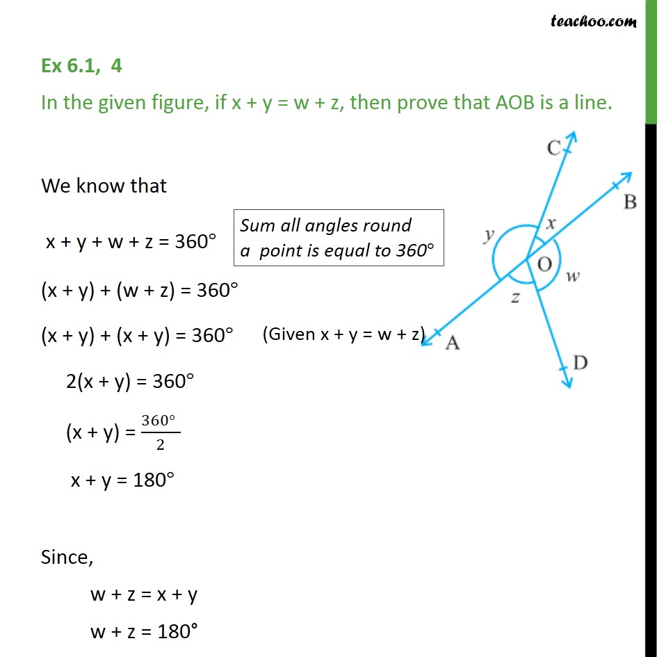 Ex 6.1, 4 - In given figure, if x + y = w + z, then prove - Angles - Problems