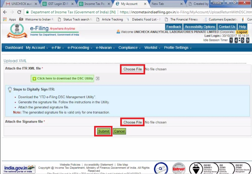 5. Choose ITR and Signature File then click Submit.jpg