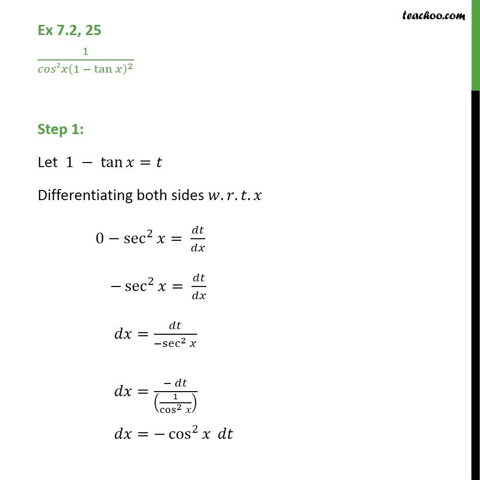 Ex 7.2, 25 - Integrate 1 / cos2 x (1 - tan x)2  - Ex 7.2