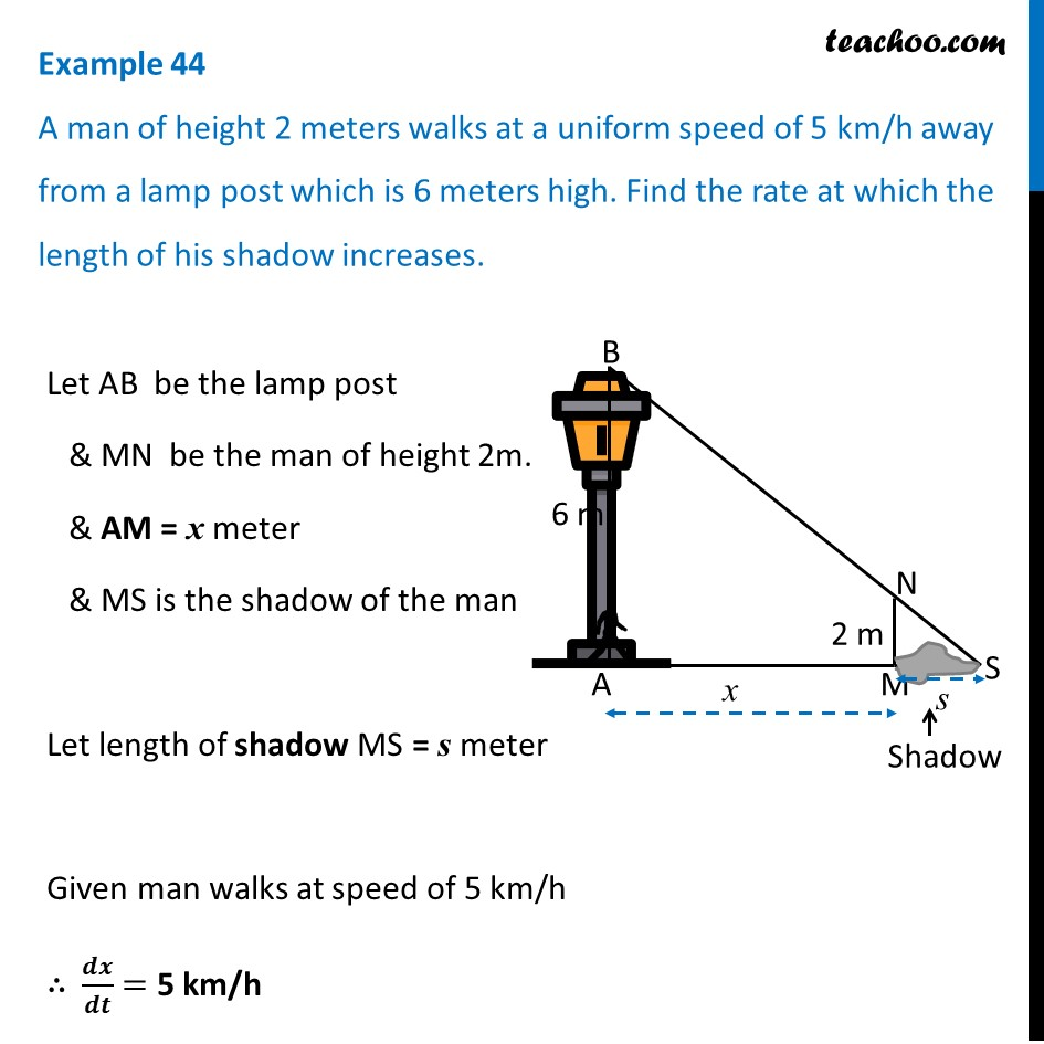 Example 44 - A man of height 2 meters walks at uniform speed
