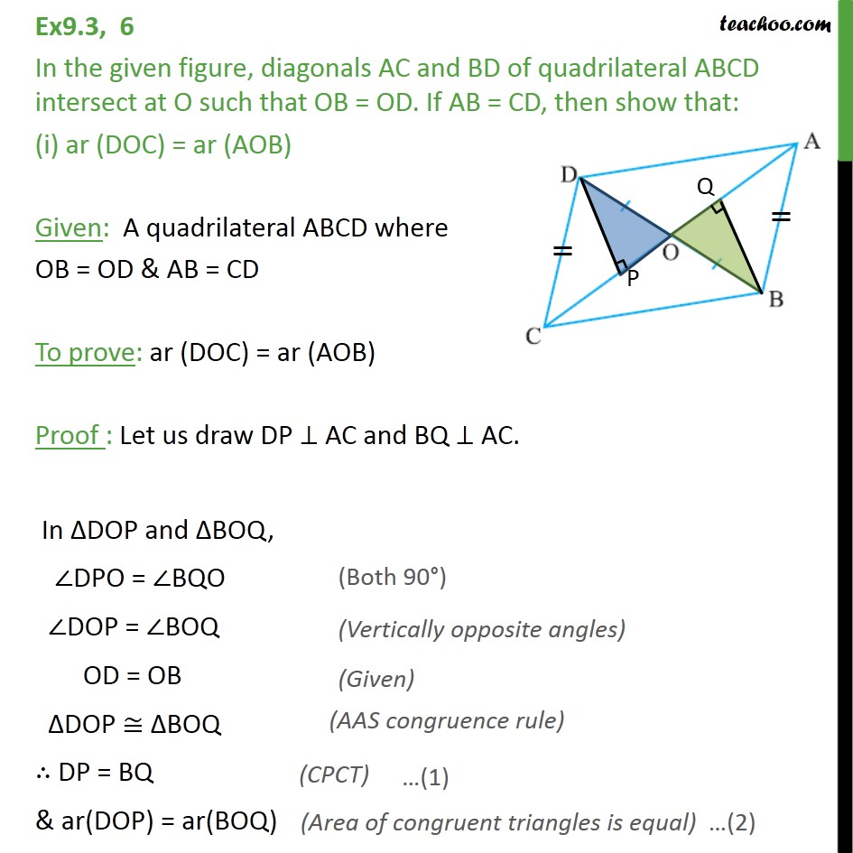 Ex 9.3, 6 - In figure, diagonals AC and BD of quadrilateral - Ex 9.3