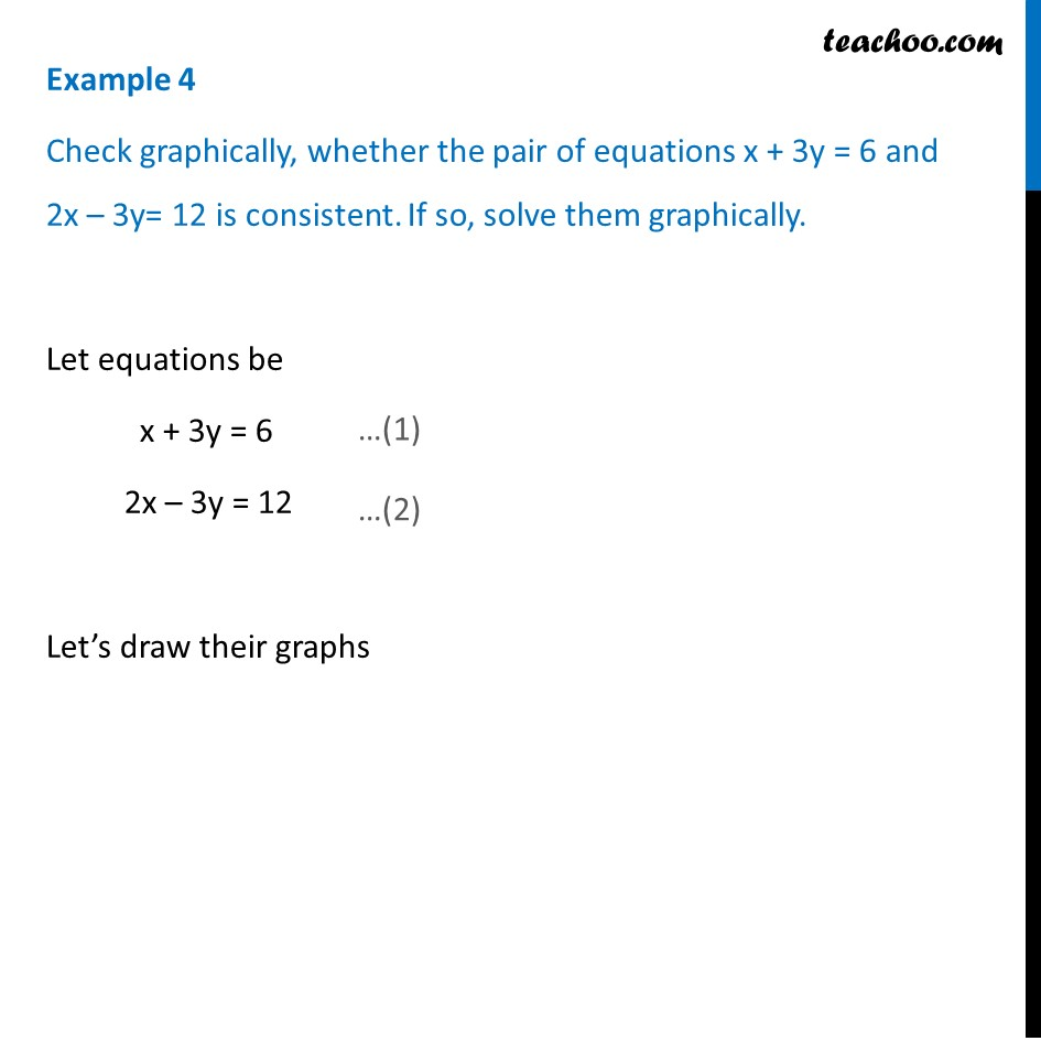 Example 4 - Check whether equations x + 3y = 6 and 2x - 3y