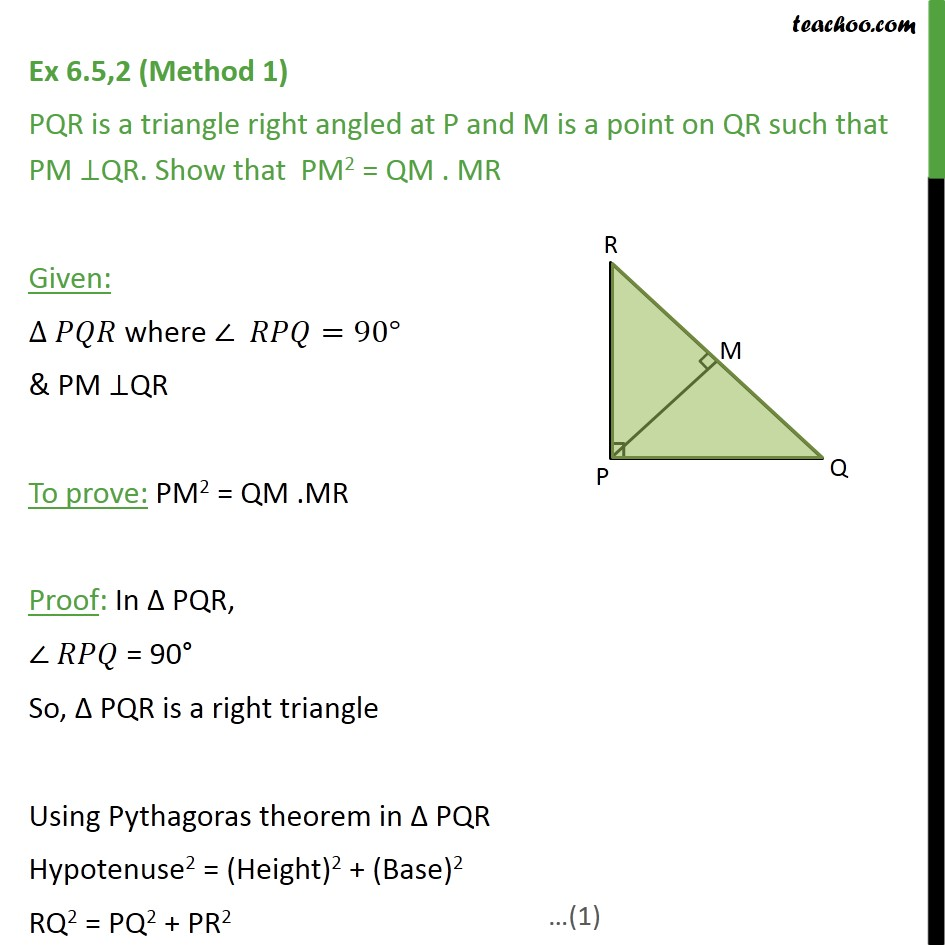 Ex 6 5, 2 - PQR is a triangle right angled at P and M is