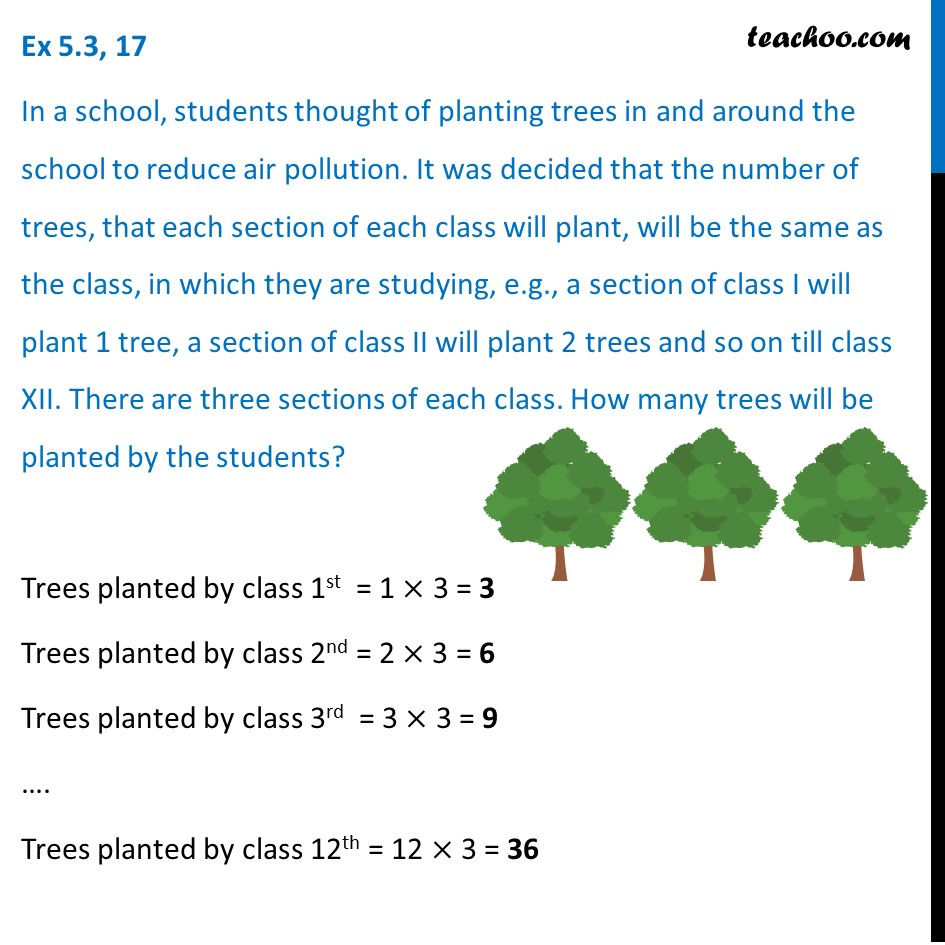 Ex 5.3, 17 - In a school, students thought of planting trees