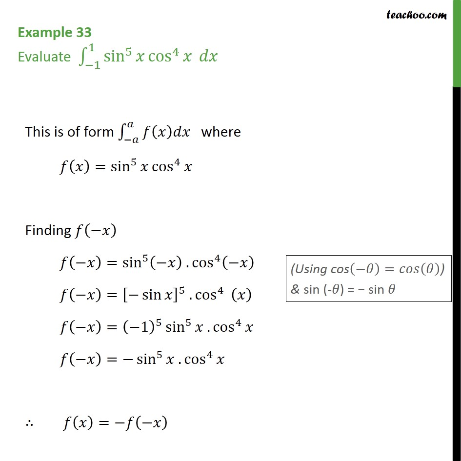 Example 33 - Evaluate sin5 x cos4 x dx - Examples
