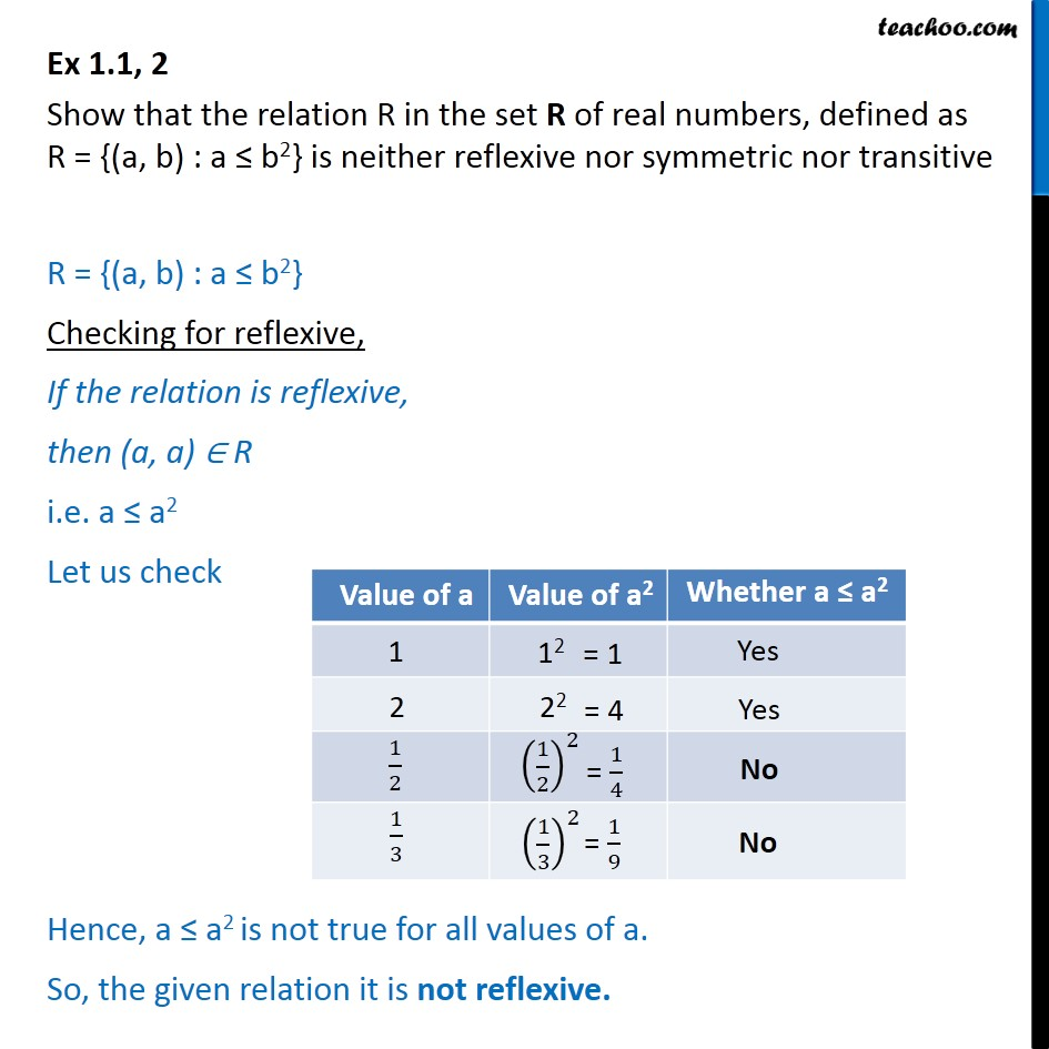 Ex 1.1, 2 - Show R = {(a,b): a<=b2} is neither reflexive - To prove relation reflexive/trasitive/symmetric/equivalent