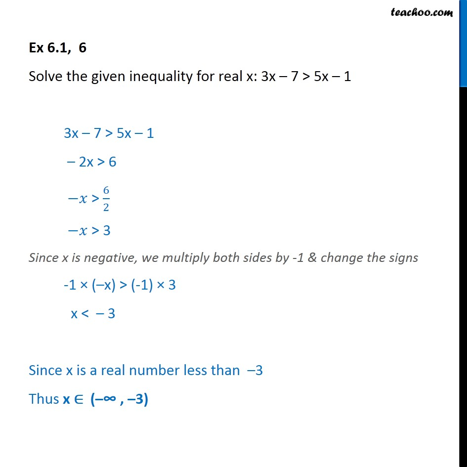 Ex 6.1, 6 - Solve 3x - 7 > 5x - 1 - Chapter 6 Class 11 - Solving inequality  (one side)