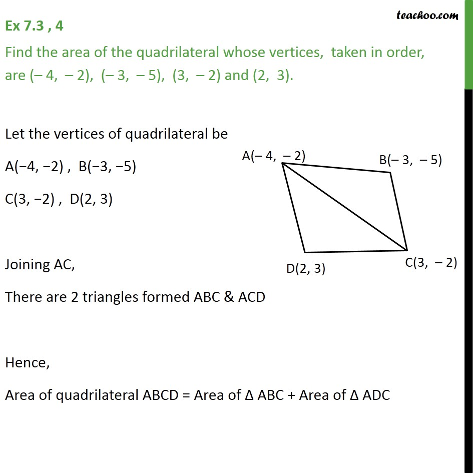 Ex 7.3, 4 - Find area of quadrilateral whose vertices are - Ex 7.3