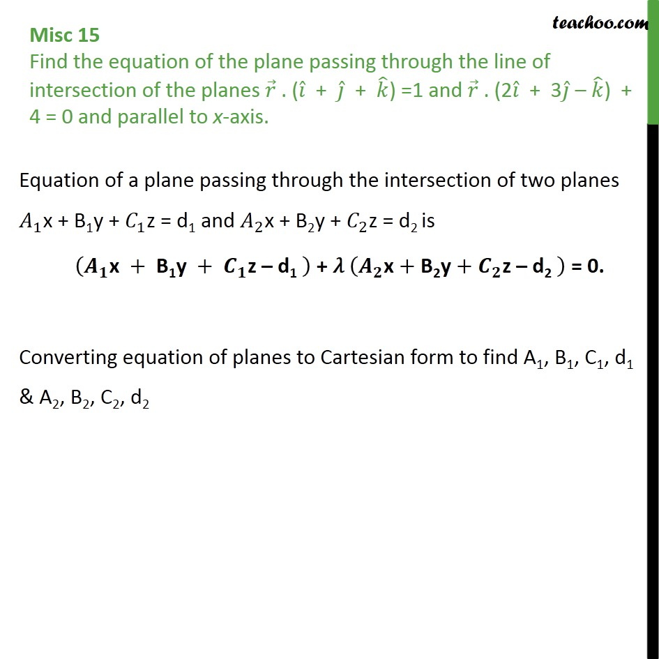 Misc 15 - Plane intersection of planes, parallel to x-axis  - Equation of plane - Passing Through Intersection Of Planes
