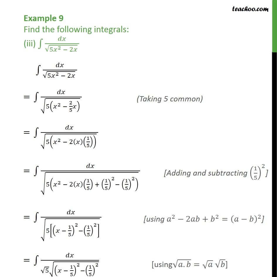 Example 9 (iii) - Find the following integrals (iii) dx / root 5x2 - 2x - Chapter 7 Class 12 CBSE NCERT Math - Integration by specific formulaes - Formula 4