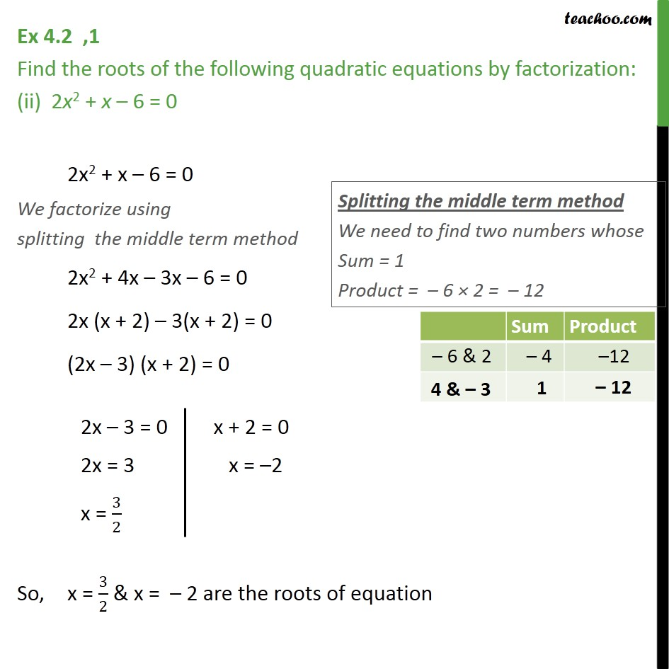 Ex 4.2, 1 - Chapter 4 Class 10 Quadratic Equations - Part 2