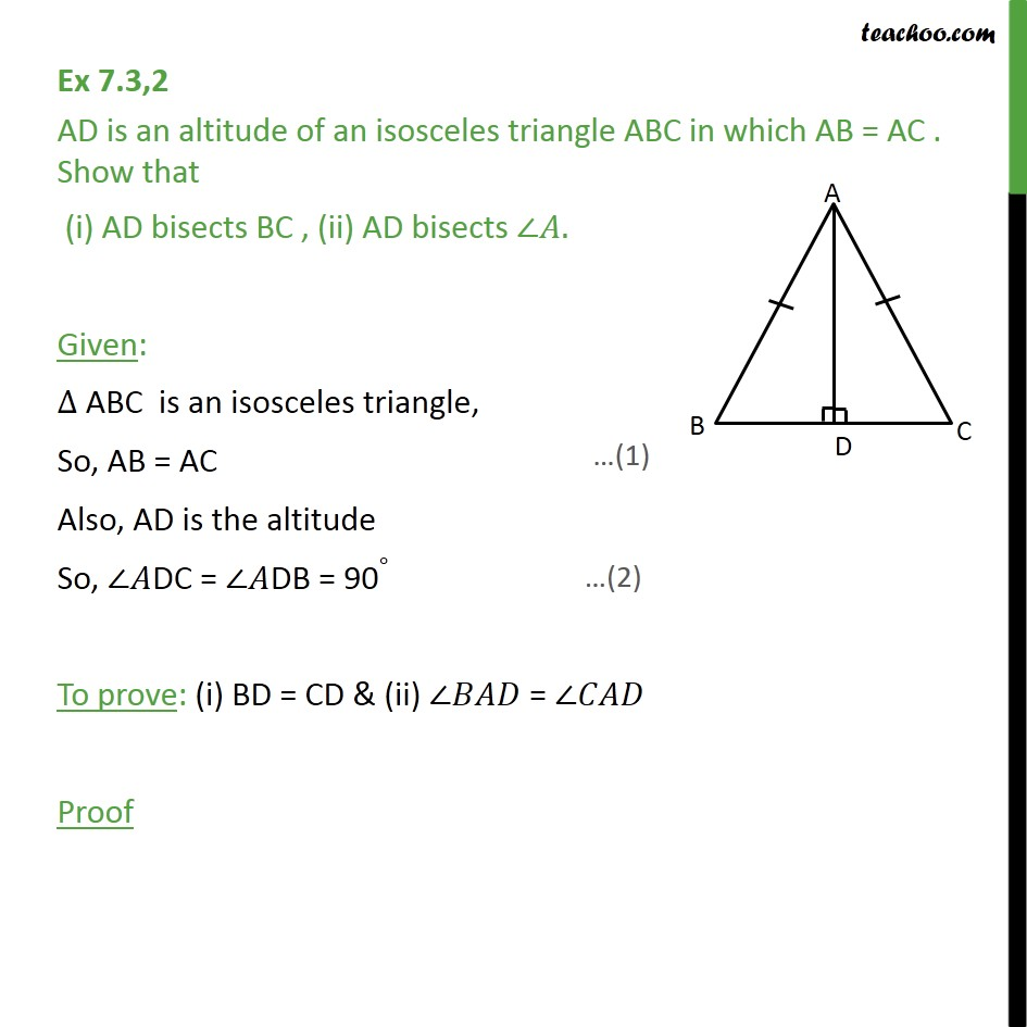 Ex 7.3, 2 - AD is an altitude of an isosceles triangle ABC - Ex 7.3