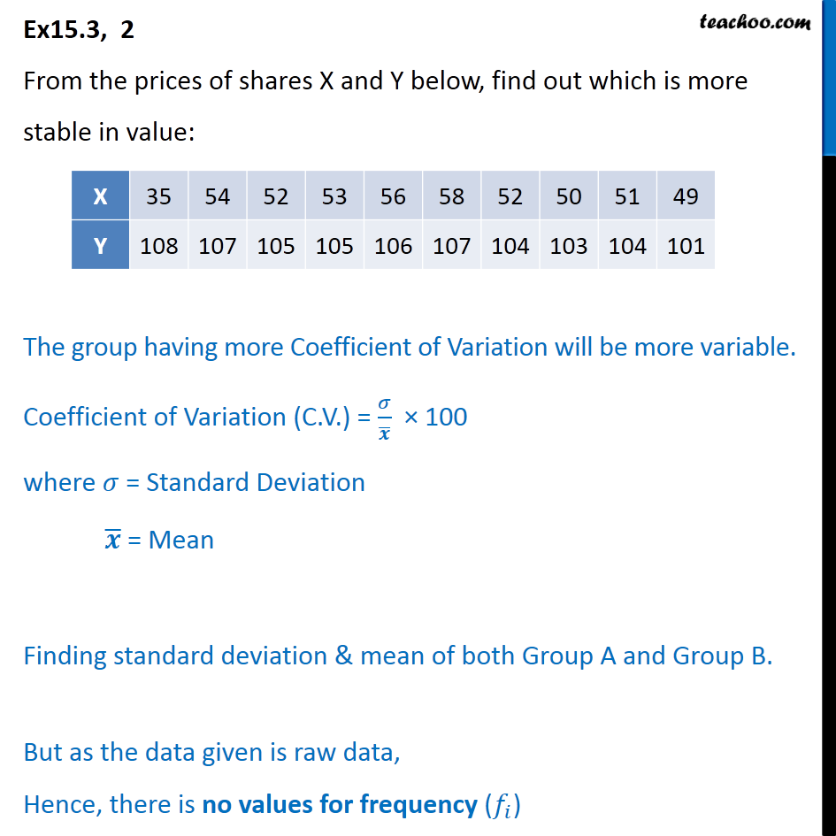 Ex 15.3,  2 - From the prices of shares X, Y, find out stable - Co-efficient of variation
