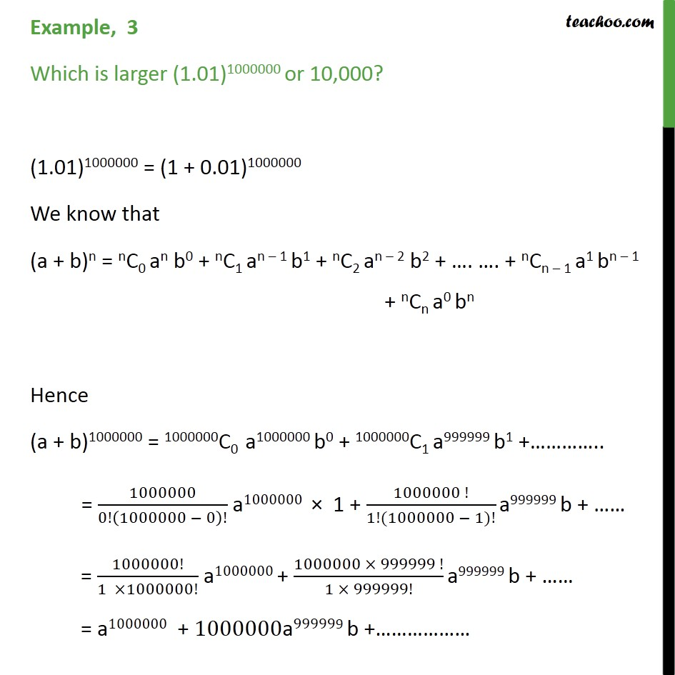 Example 3  - Which is larger (1.01)1000000 or 10,000 - Examples
