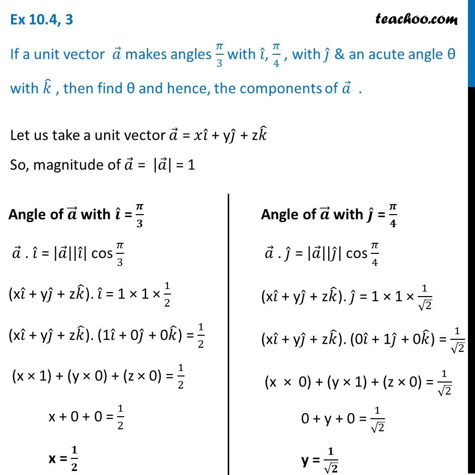 Ex 10.4, 3 - If a unit vector a makes angles pi/3 with i, pi/4