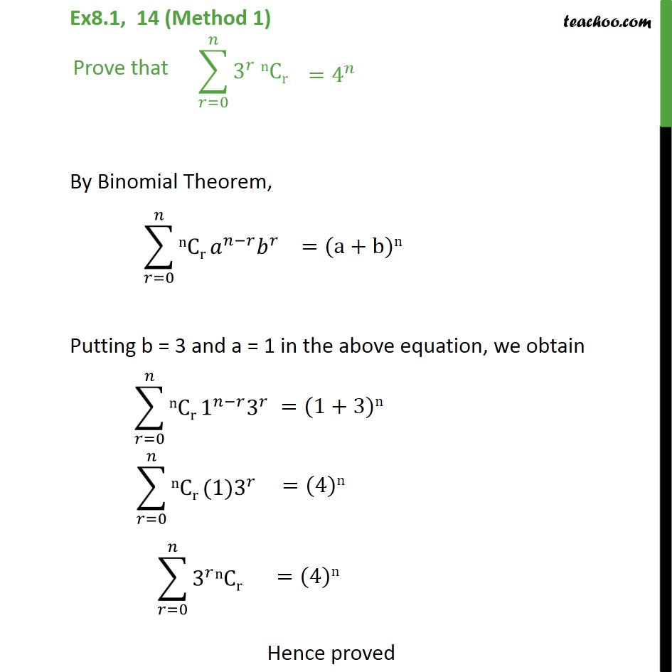 Ex 8.1, 14 - Prove 3r nCr = 4n - Chapter 8 Class 11 - Ex 8.1