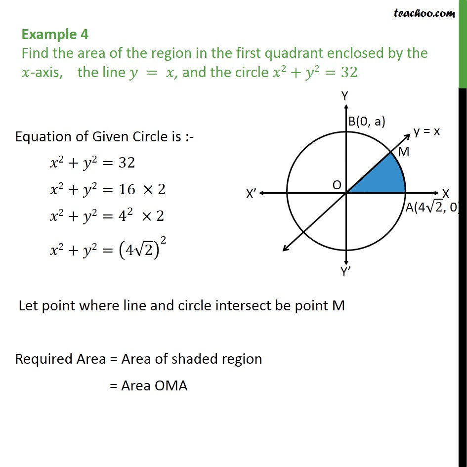 Example 4 - Find area enclosed by x-axis, y = x and circle - Examples