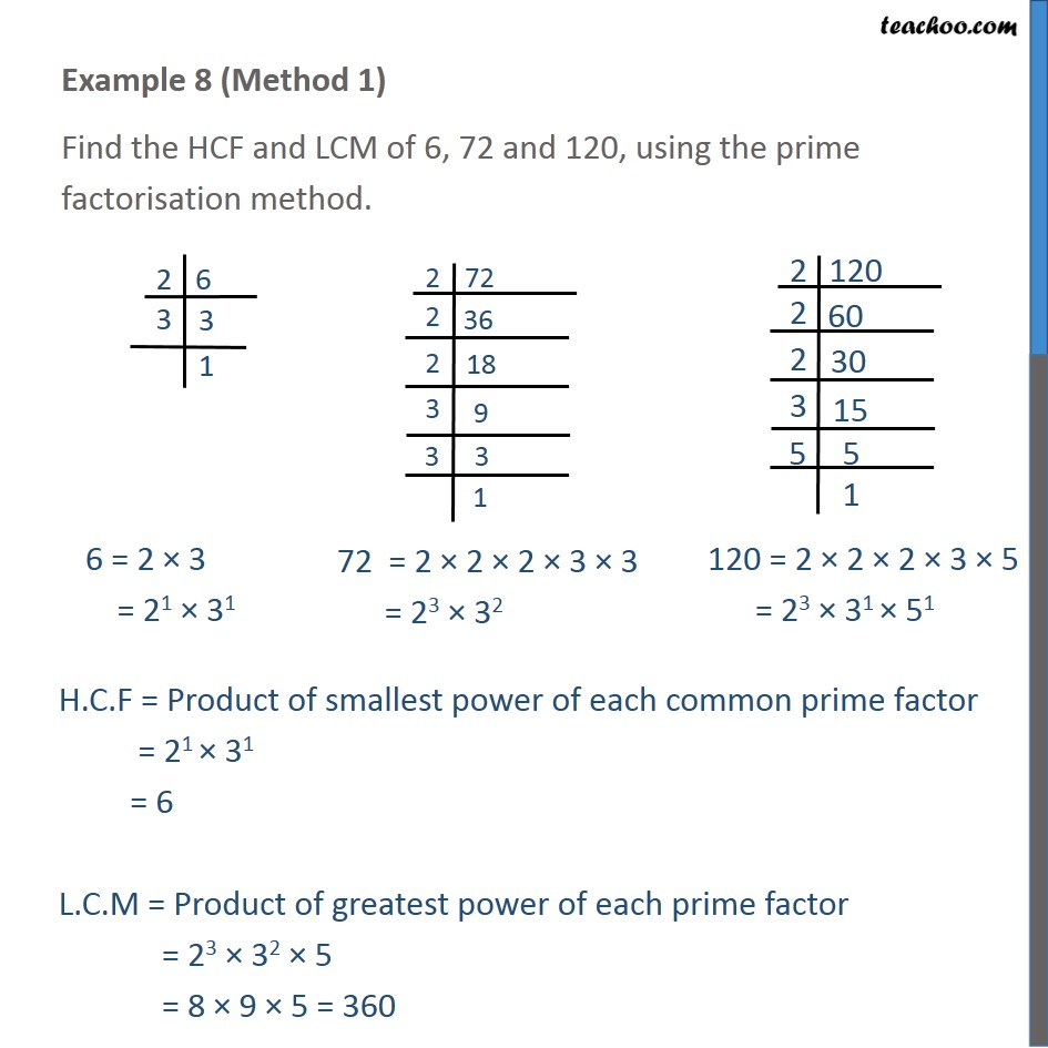 Example 8 - Find HCF and LCM of 6, 72 and 120, using prime - Examples