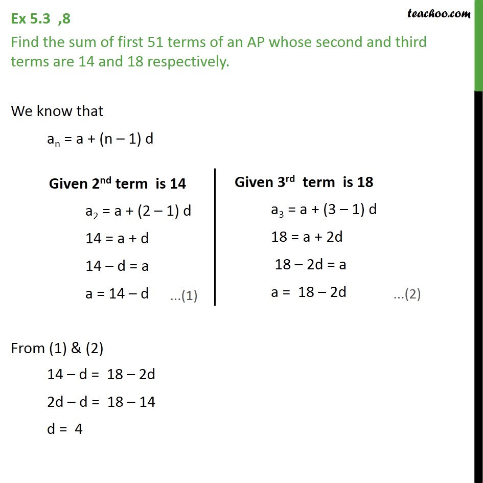Ex 5.3, 8 - Find sum of first 51 terms of an AP whose second - Ex 5.3