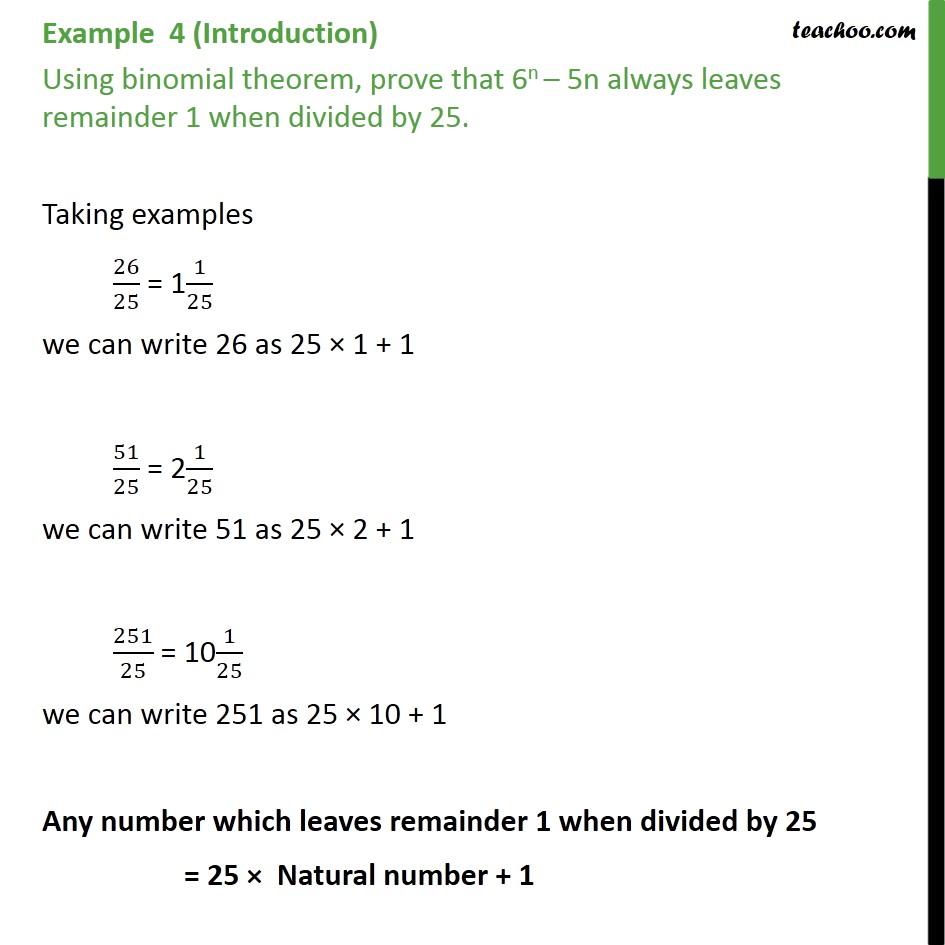 Example 4 - Prove that 6n - 5n always leaves remainder 1 - Binomial - Proof using binomial