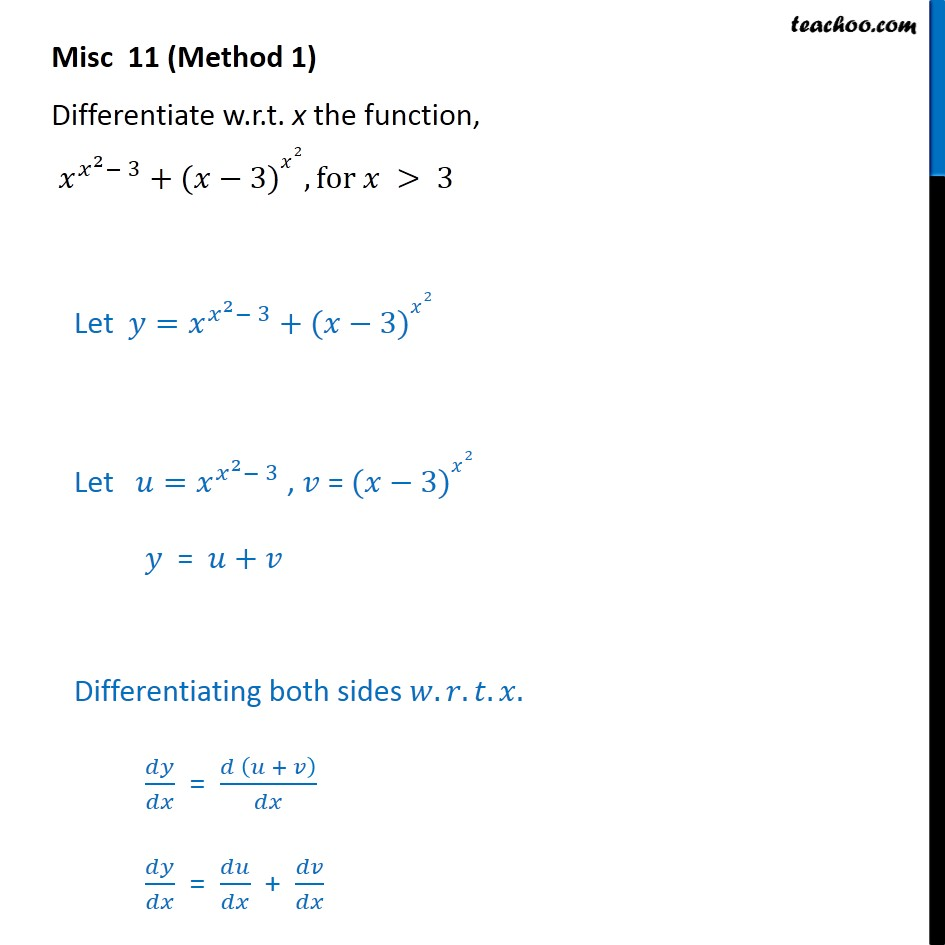 Misc 11 - Differentiate x x2-3 + (x - 3)x2 - Chapter 5 Class 12 - Logarithmic Differentiation - Type 2