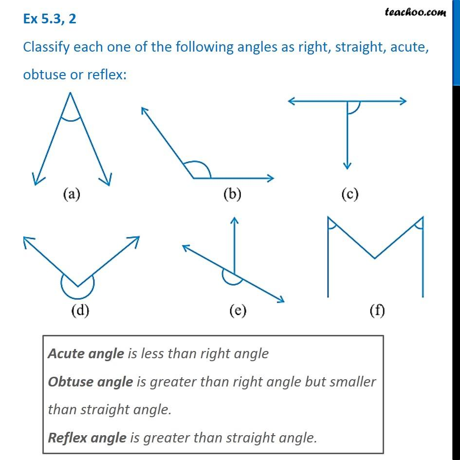 Ex 5 3, 2 - Classify each one as right, straight, acute