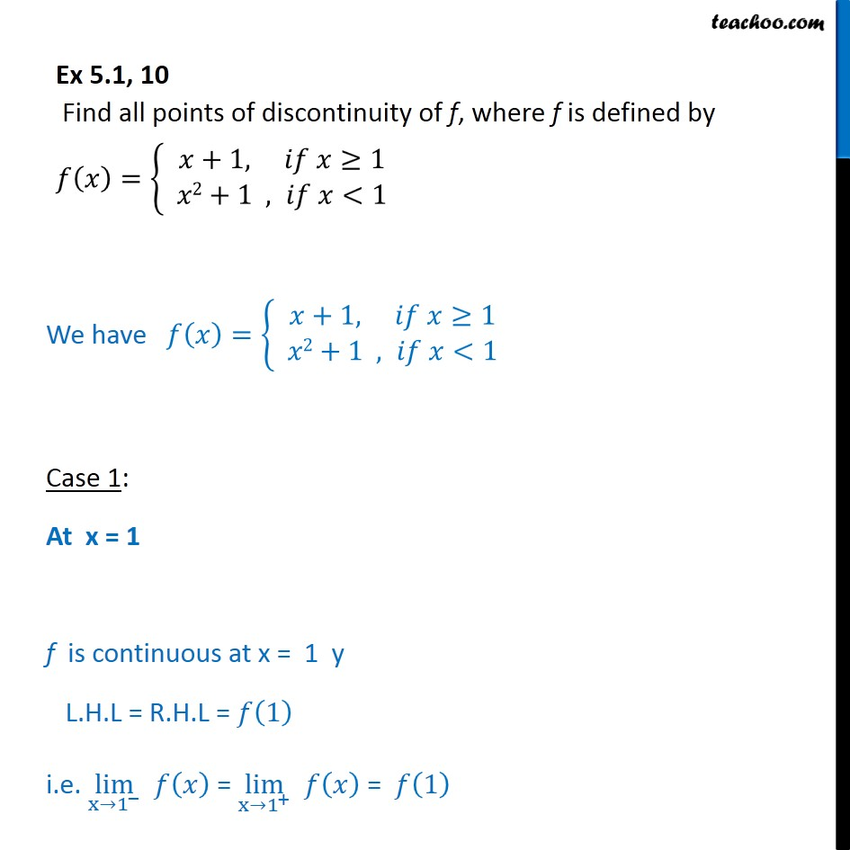 Ex 5.1, 10 - Find all points of discontinuity - Class 12 CBSE - Ex 5.1