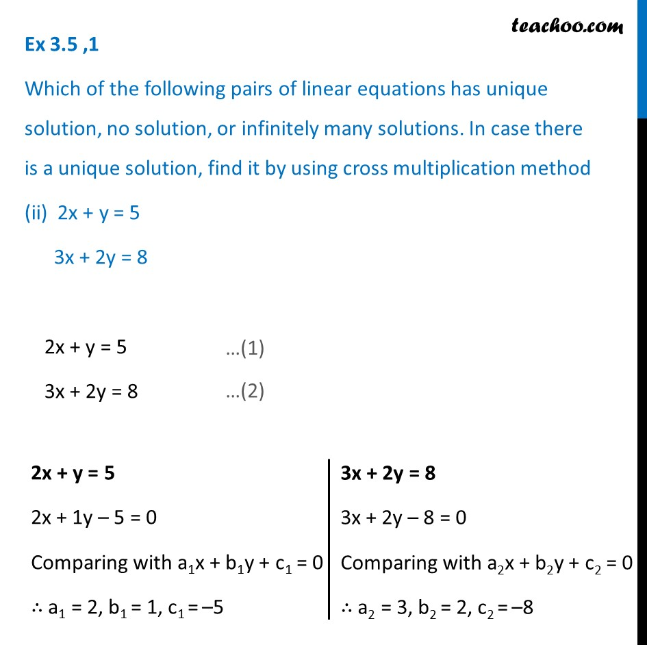 Ex 3.5, 1 - Chapter 3 Class 10 Pair of Linear Equations in Two Variables - Part 3