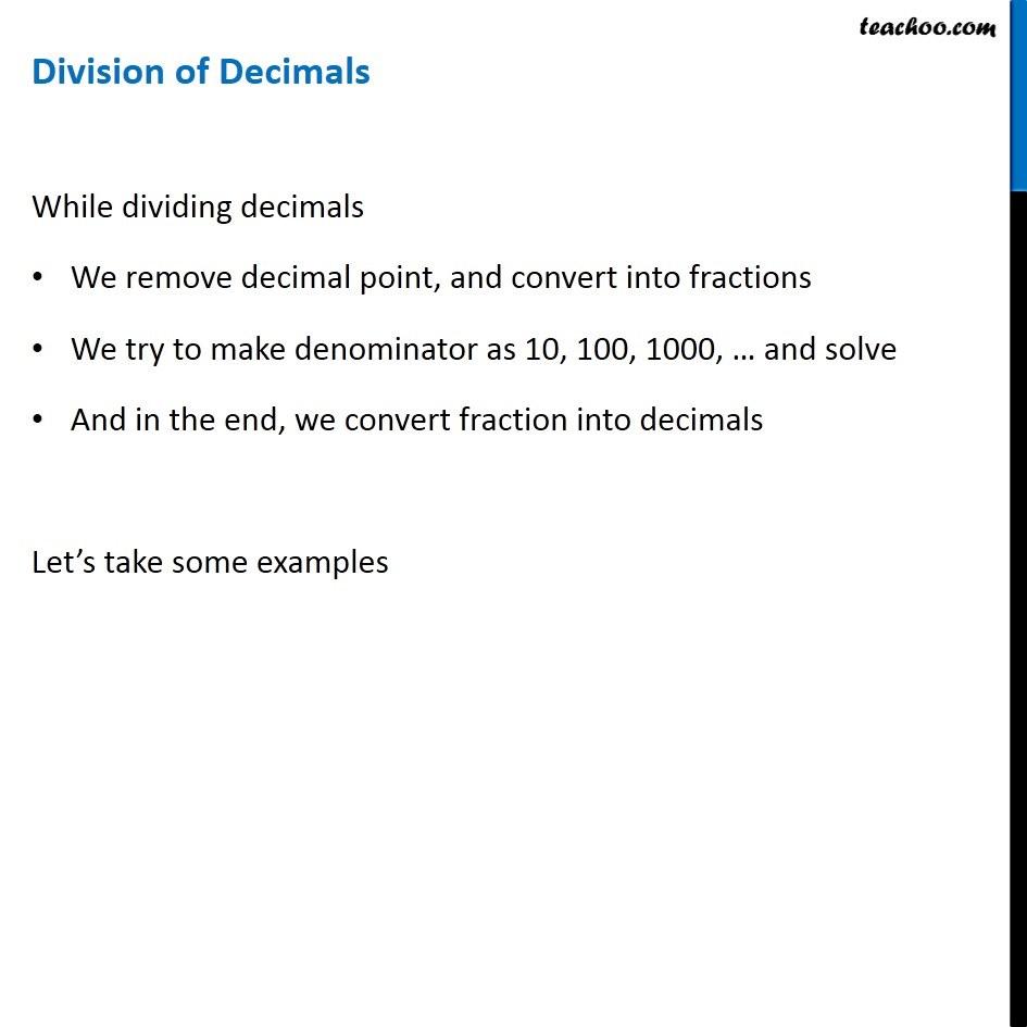 division of decimals - explanation with examples - teachoo