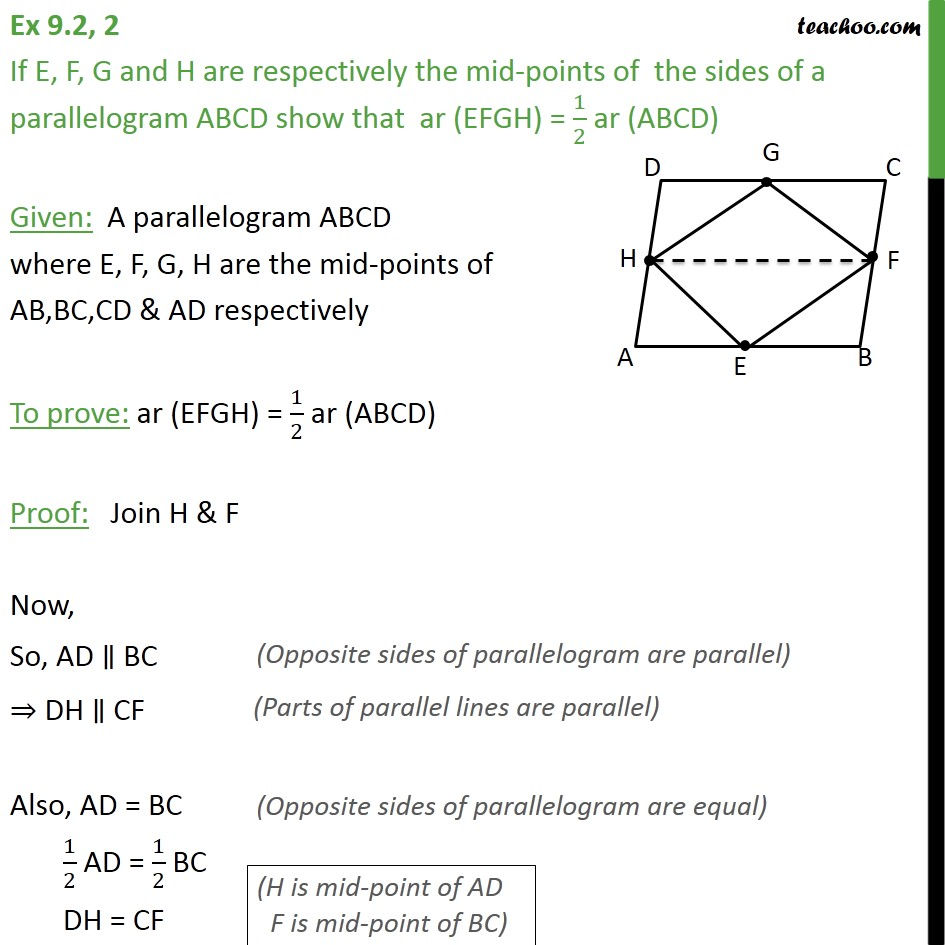Ex 9.2, 2 - If E, F, G and H are mid-points of sides - Paralleograms & triangles with same base & same parallel lines