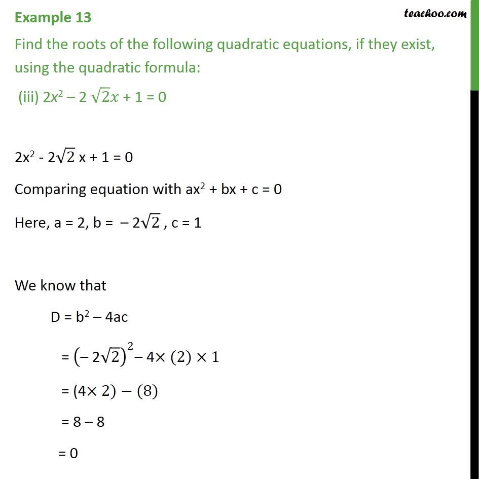 Example 13 - Chapter 4 Class 10 Quadratic Equations - Part 5