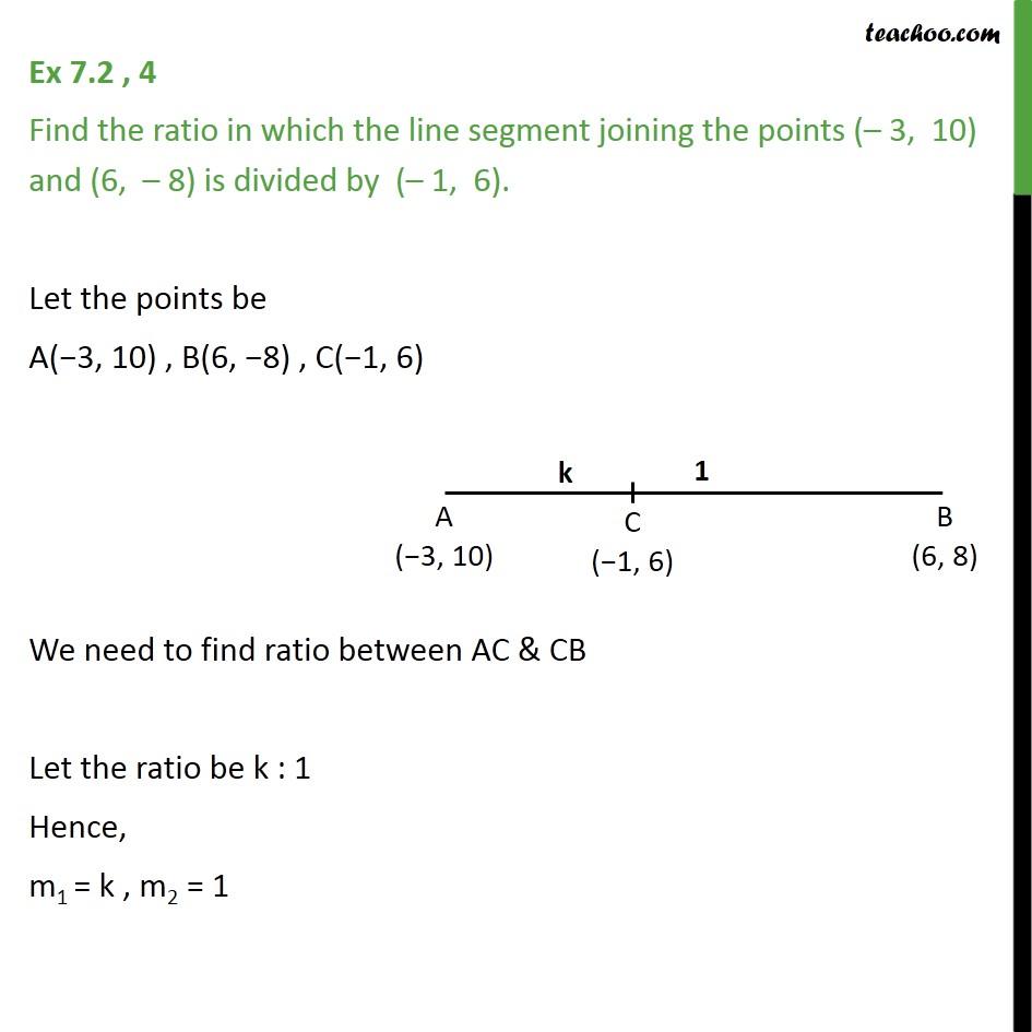 Ex 7.2, 4 - Find ratio in which line segment joining (-3, 10) - Finding ratio