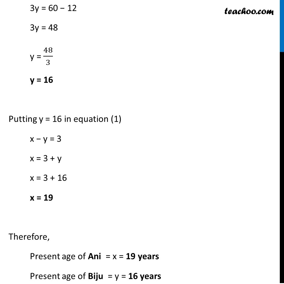 Ex 3.7, 1 (Optional) - Chapter 3 Class 10 Pair of Linear Equations in Two Variables - Part 4
