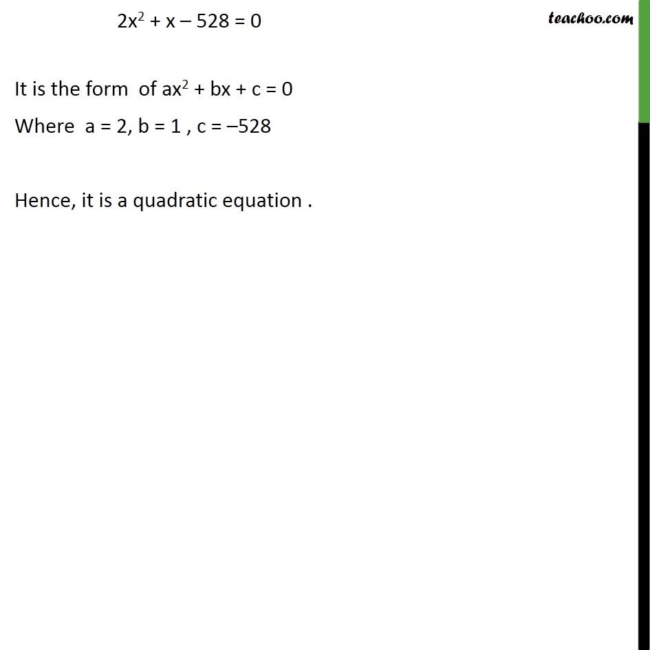 Ex 4 1, 2 - Represent in form of quadratic equations - Ex 4 1