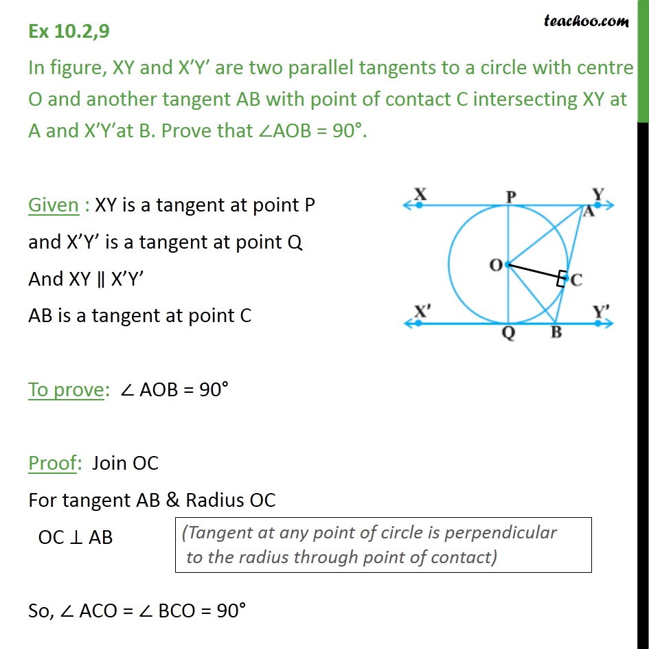 Ex 10.2, 9 - In fig, XY and X′Y′ are two parallel tangents - Theorem 10.2: Equal tangents from external point (proof type)